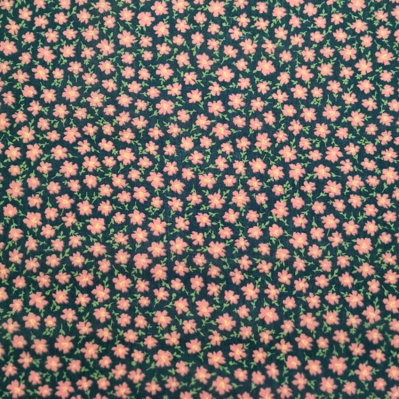 Small Cerise Flowers on Navy Polycotton