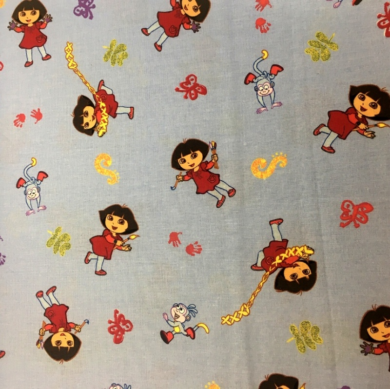 Character 100% Cotton DORA ON SKY BLUE