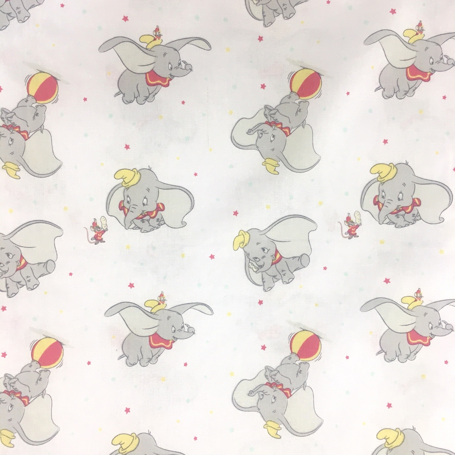 Character 100% Cotton DUMBO ON WHITE