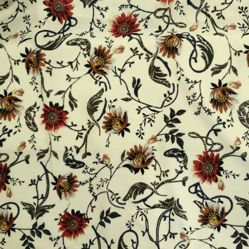 Viscose Chalis BROWN & CERISE FLOWERS ON CREAM