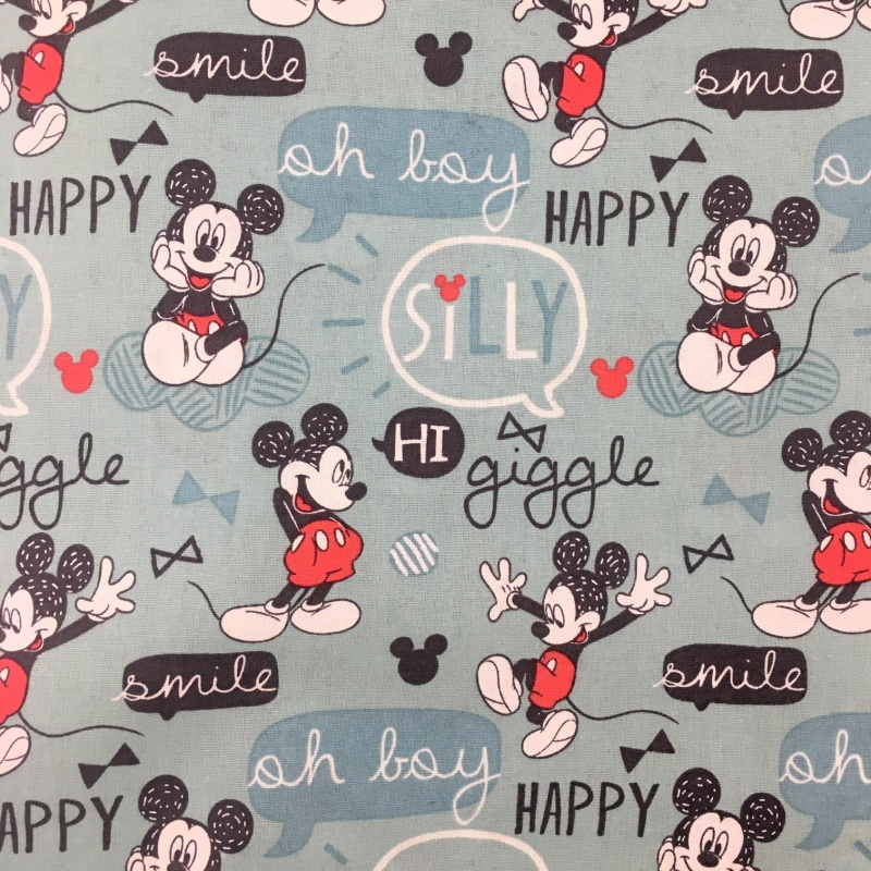 Character 100% Cotton MICKEY MOUSE ON BLUE