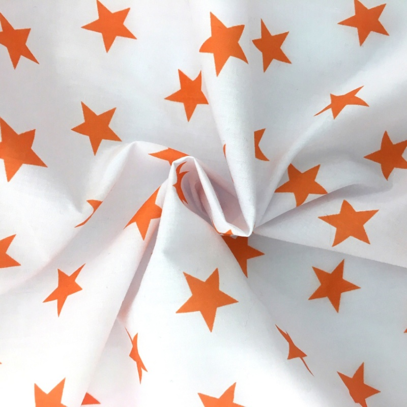 Polycotton Stars - Orange on White