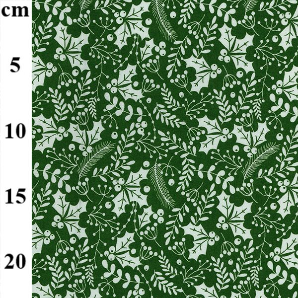 100% Christmas Cotton - Holly on Green