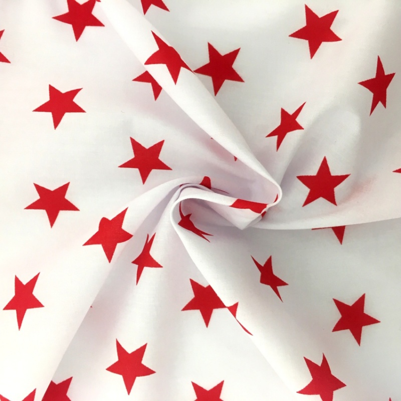 Polycotton Stars - Red Stars on White