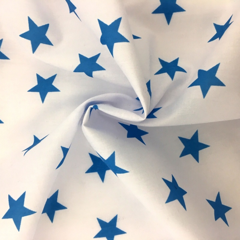 Polycotton Stars  - Turquoise on White