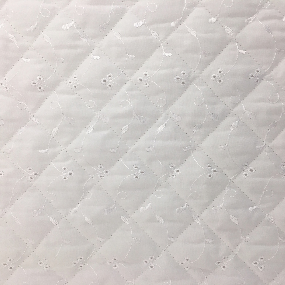 Quilted Broidery Anglaise - WHITE