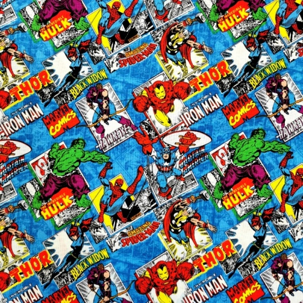 Marvel Comic Blue Burst 100% Cotton