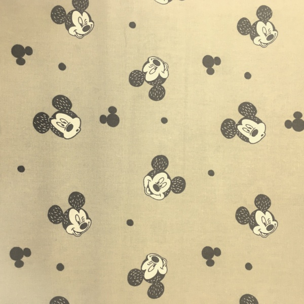 Character 100% Cotton MICKEY MOUSE ON BEIGE