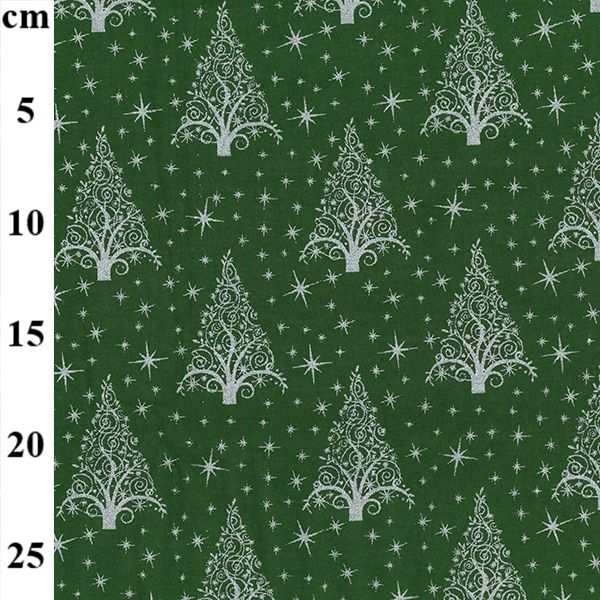100% Christmas Cotton - Trees on Green