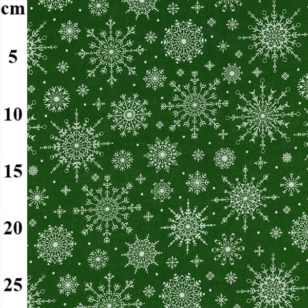 100% Christmas Cotton - SNOWFLAKES on GREEN