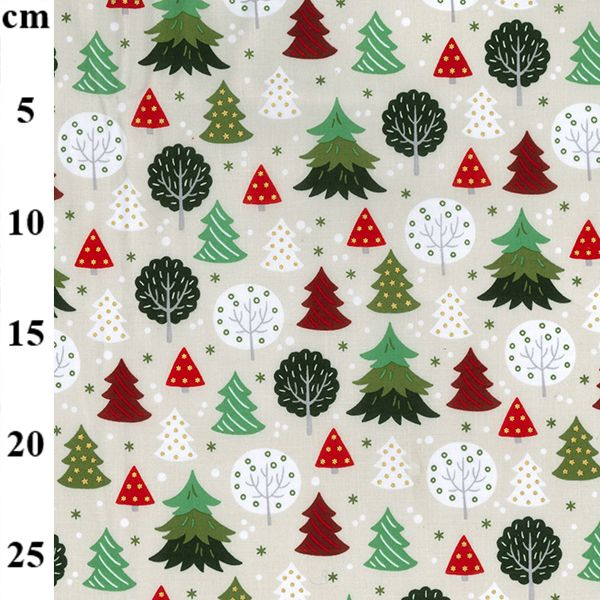 100% Christmas Cotton - TREES on IVORY