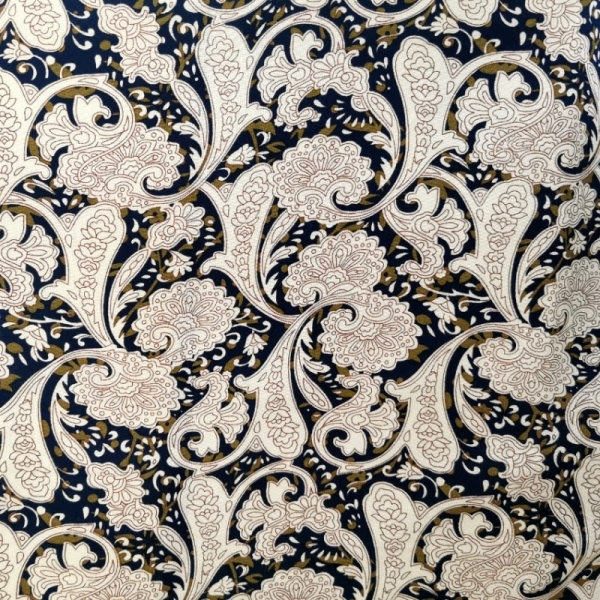 Viscose Chalis NAVY/TAN FLORAL
