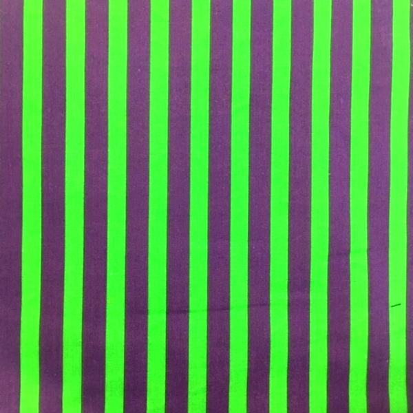 Polycotton Stripes GREEN & PURPLE