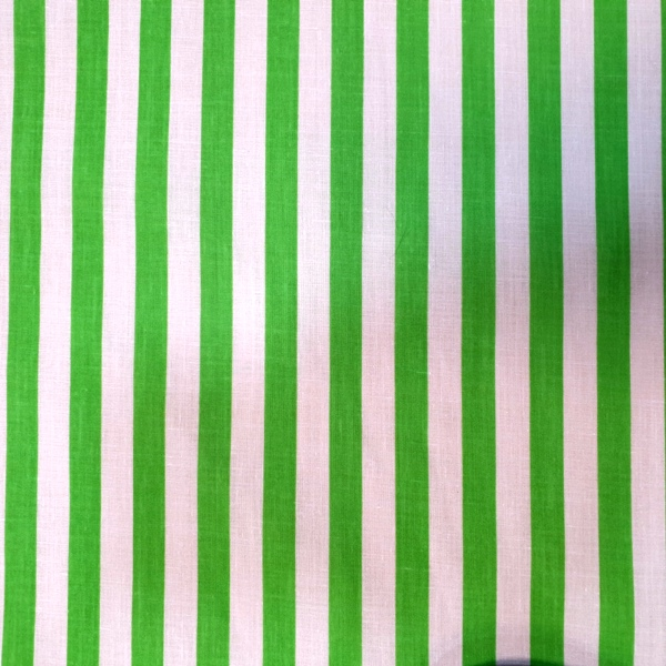 Polycotton Stripes LIME GREEN