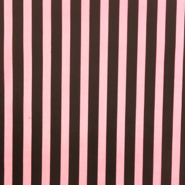 Polycotton Stripes PINK & BROWN