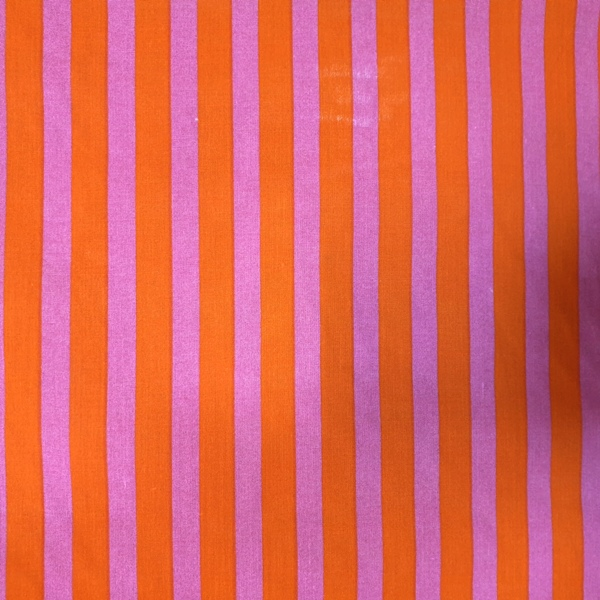 Polycotton Stripes PINK & ORANGE