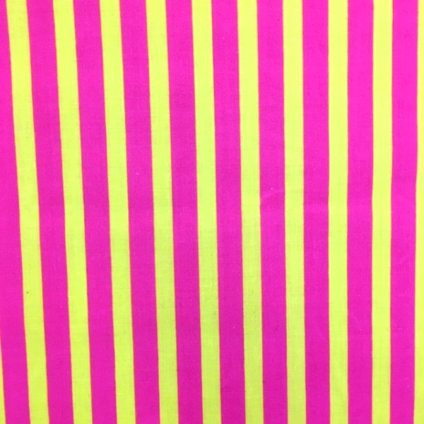 Polycotton Stripes PINK & YELLOW