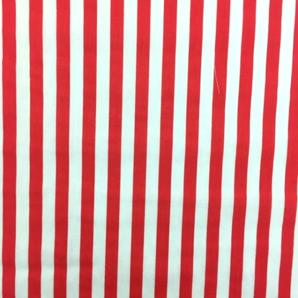 Polycotton Stripes RED