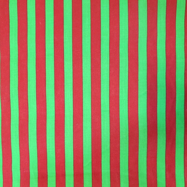 Polycotton Stripes RED & GREEN