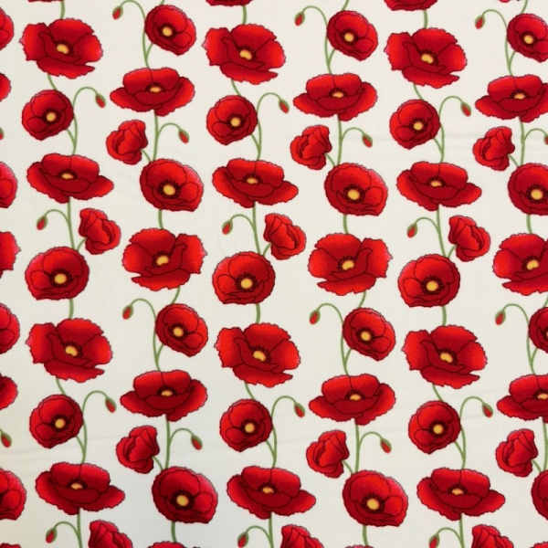 Floral Poplin Design 25 RED POPPIES ON IVORY