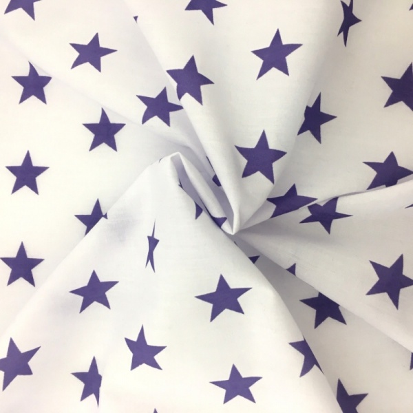 Polycotton Stars - Purple on White