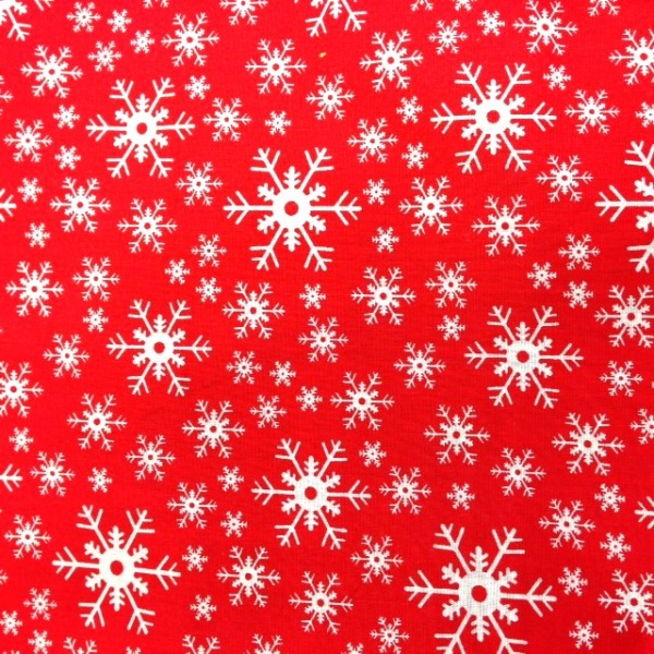 Christmas Polycotton SNOWFLAKE ON RED