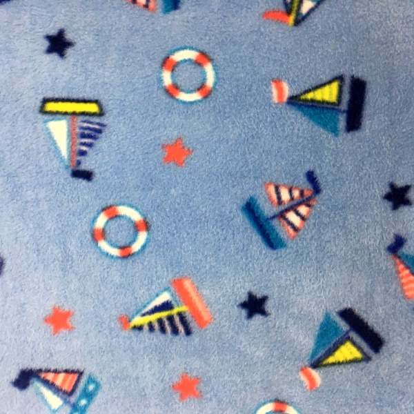 Printed Fleece Fabric - Sailboats