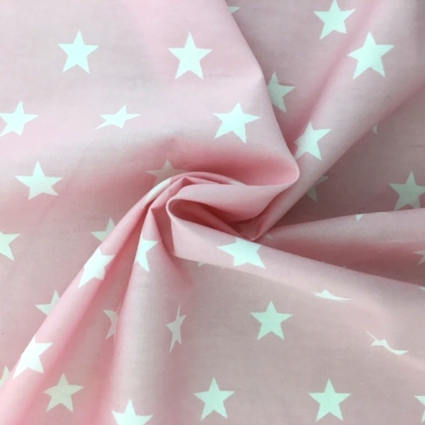 100% Cotton Stars WHITE ON BABY PINK