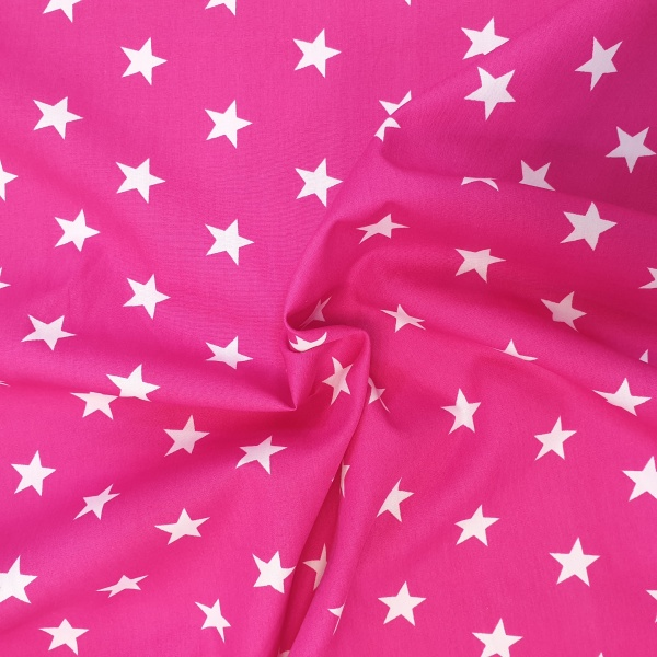 100% Cotton Stars WHITE ON CERISE
