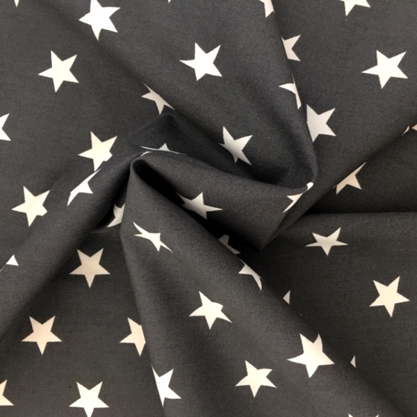 100% Cotton Stars WHITE ON DARK GREY