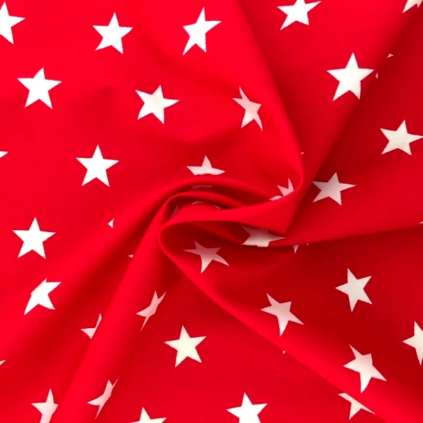 100% Cotton Stars WHITE ON RED