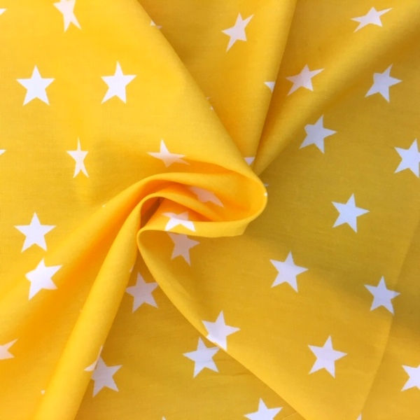 100% Cotton Stars WHITE ON YELLOW