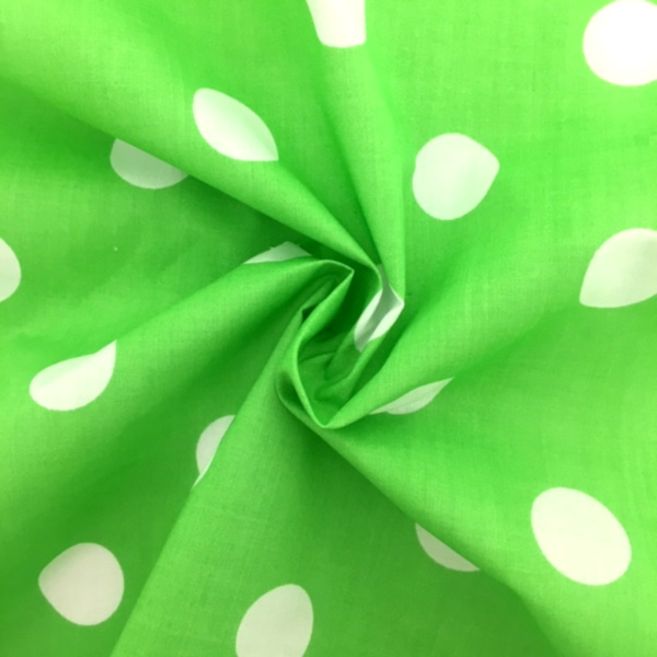 Polycotton Polkadots WHITE on LIME GREEN