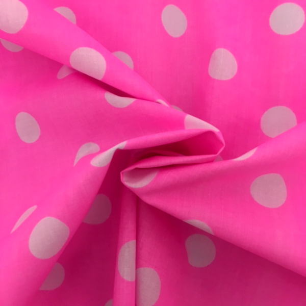 Polycotton Polkadots WHITE on CERISE