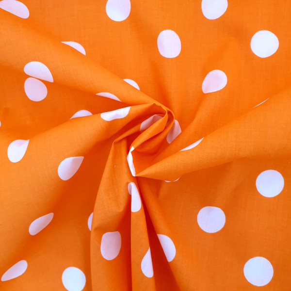 Polycotton Polkadots WHITE on ORANGE