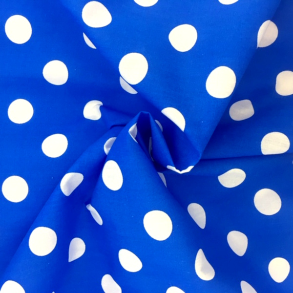 Polycotton Polkadots WHITE on BLUE