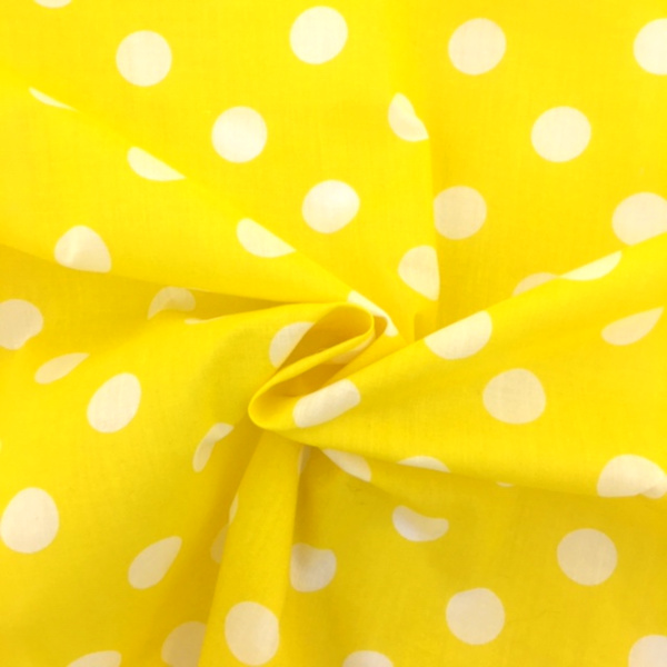 Polycotton Polkadots  WHITE On YELLOW