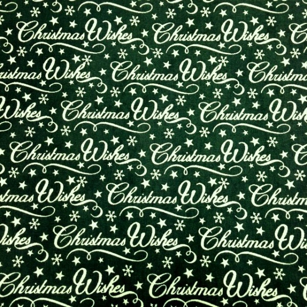 Christmas Polycotton CHRISTMAS WISHES ON GREEN