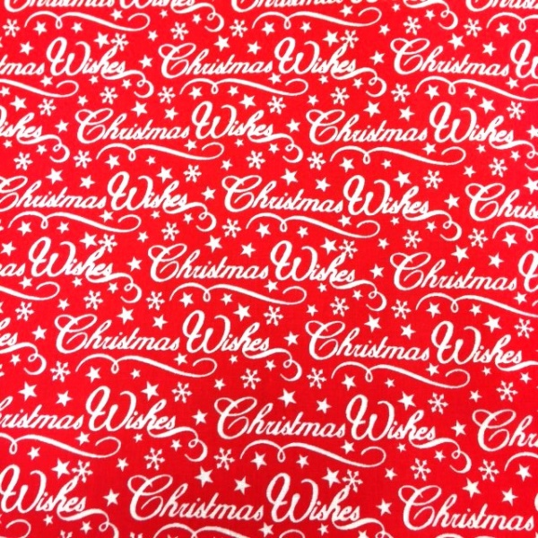 Christmas Polycotton CHRISTMAS WISHES ON RED