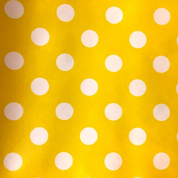 Polka Dot Vinyl White on Yellow 17mm